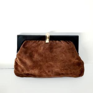 Italian Vintage 1960s Brown Suede Clutch